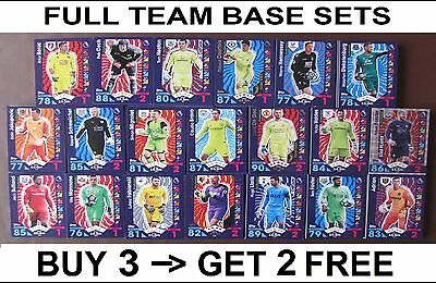Match Attax 16/17 Komplette  Basis Team Set 19 Karten Inc-stern Abzeichen