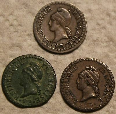 THREE 1849 A and EARLIER FRANCE FRENCH ONE CENTIME COINS