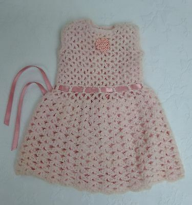 Dolls Soft Knitted Dress Mid Century Outfit Clothes Vintage Antique Pink Knit