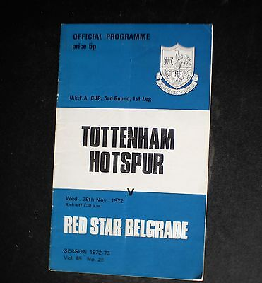 Tottenham Vs Red Star Belgrade  1972 - 1973 UEFA CUP Nov 29th