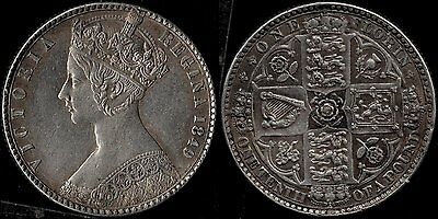 narkypoon Virtually UNCIRCULATED 1849 Victoria STERLING SILVER 'Godless' Florin