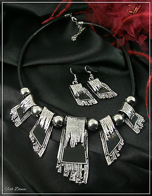 Stunning Silver & Black Deco Style Silver Statement Necklace & Earring Set (27)