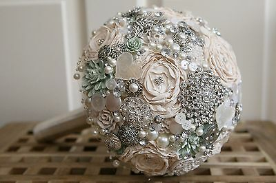 Vintage style Brooch Bouquet Bridal Wedding POSIE made to order in any colour