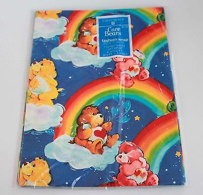 Vintage Care Bears Wrapping Paper Gift Wrap 2.5ftx1.1yd  New Old Stock Party