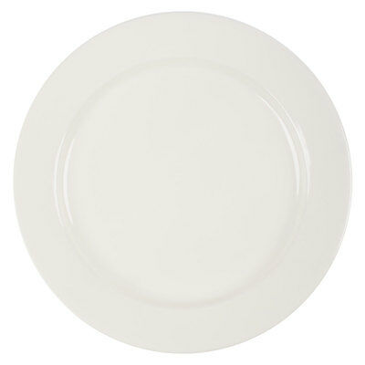 """Core 11 1/4"""" Ivory (American White) Wide Rim Rolled Edge China Plate - 12/Case"""