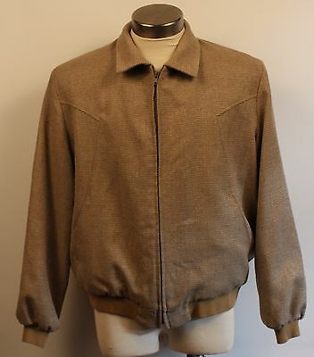 LARGE, CONTONI, WOOL / POLYESTER, FAWN, MENS 1970's BOMMER STYLE JACKET.