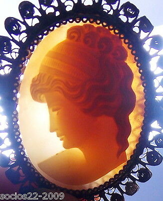 Carved Shell Cameo Brooch  Lady