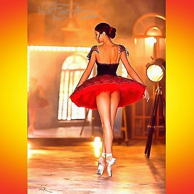 Nik Tod Recreated From Original Painting Large Signed Art Ballerina In Red Dress