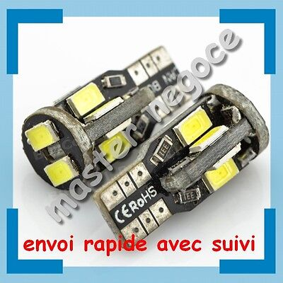 10 Veilleuses LED W5W T10 Canbus anti-erreur ODB Blanc Xénon 10 SMD Blanc Pur