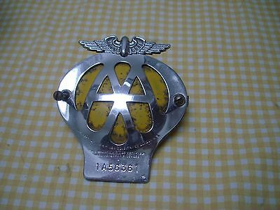 Vintage AA Chrome Car Badge Serial Number 1A56361
