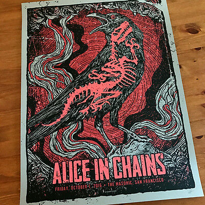 Alice In Chains Dinosaur Fossil Crow Grey Main Edition Poster Signed by GIGART