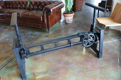 "60"" L Heavy duty crank dining table base only industrial design iron black"