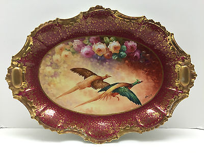 """Giant 19"""" Antique Limoges Signed A. Brousillon Game Platter With Roses Pheasants"""