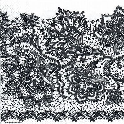 4 Single paper decoupage napkins. Black and white, lace design-338