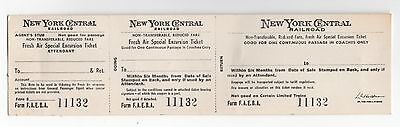 New York Central Fresh Air Special Excursion Ticket Strip, Unused, Early 1900s