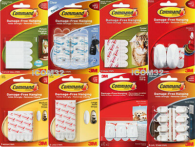 3M Command Damage Free Decorating Picture Hanging Self Adhesive Strips Hooks