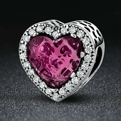 European 925 Sterling Silver Rose Crystal & Clear CZ Love Heart Charm for Women