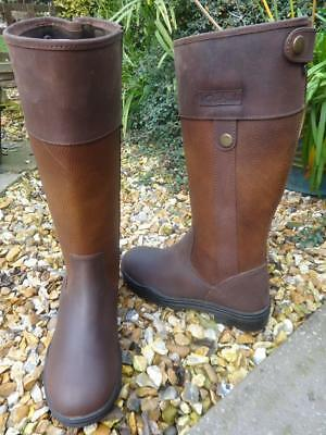 New Adults Black Brown Tall Riding Yard Walking Leather Country Boot Size 7