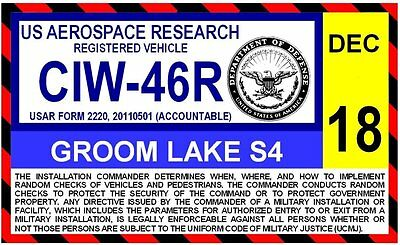 Groom Lake AFB Area S4 Parking Decal Area 51