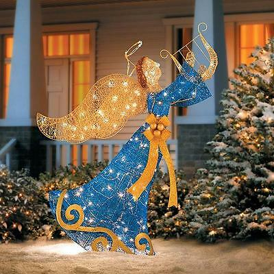 """SALE 54"""" Lighted Pre Lit Blue Gold Angel With Harp Outdoor Christmas Decoration"""