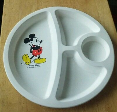 Vintage Plastic Mickey Mouse Divided Plate