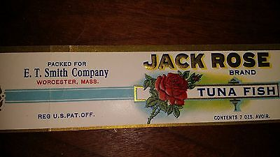 Orig Antique Vntg Label Jack Rose Brand White Tuna Fish E T Smith Worcester Mass