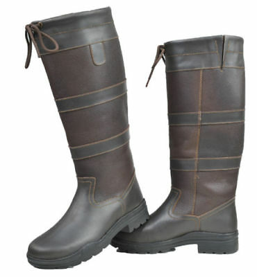 Sale New Adults Black Brown Tall Riding Yard Walking Leather Country Boot Size 7