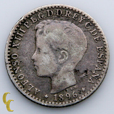 1896 Puerto Rico 10 Centavos (VF) Very Fine Condition KM# 21