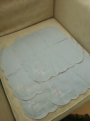 Set of 4 grey and pink Linen Hand Embroidered Tray Cloths/Place Mats/Tableware
