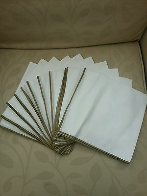 Linen Napkins Tray Cloths/Place Mats/Tableware white with brown/blue edging
