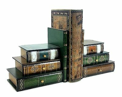 New Style Classic Wooden Book Bookends Library w/ Hidden Drawers