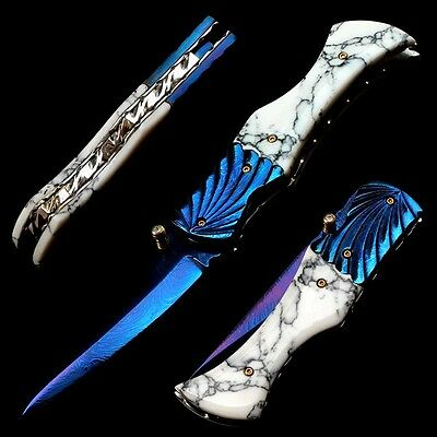 Folding Knife Pk02105 Damascus Steel Blade Imitation Turquoise Handle Poosiri