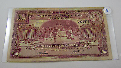1952 PARAGUAY 1000 GUARANIES banknote. Well used but an example