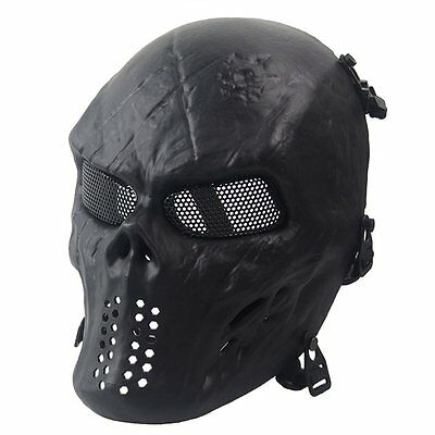Skull Skeleton Protection Mask Army Airsoft Tactical Paintball Full Face Black