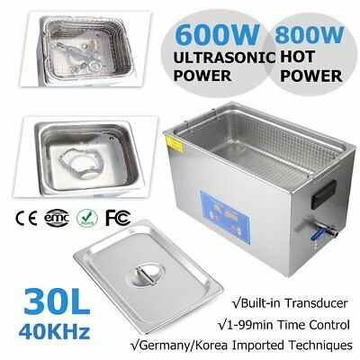 PRO Stainless Steel 30L Ultrasonic Cleaner Liter Industry Heated Timer Jewelry G