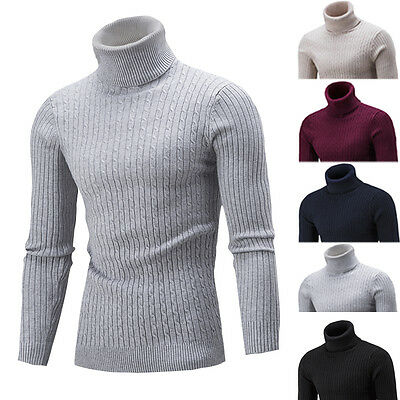 █ █ Fashion Mens Knitted Warm Roll Turtle Neck Pullover Sweater Jumper Tops
