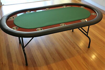 "The Ivey 82"" Professional 10 Seater Green Suited Speed Cloth Poker Table Premium"