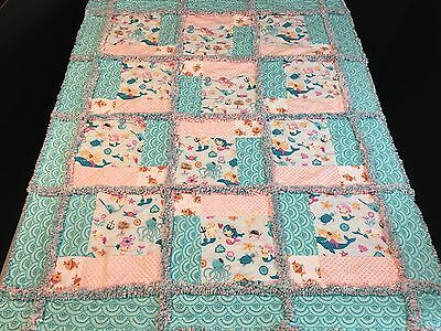 Mermaid rag quilt blanket lap baby toddler girl handmade, homemade
