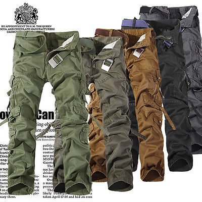 Army Casual Cargo Camo Combat Military Mens Work Trousers Khaki Fitted Pants