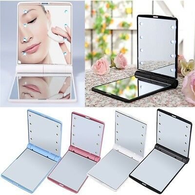 Hot LED Make Up Mirror Cosmetic Mirror Folding Portable Compact Pocket Gift DC