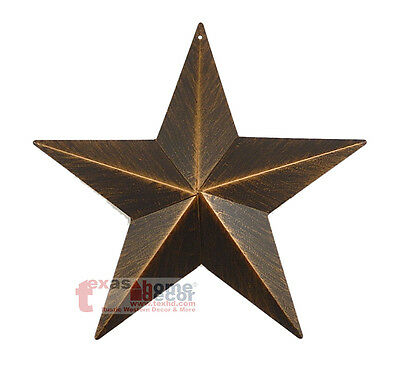 "9"" Rustic Metal Barn Star Brushed Copper Texas Tin Wall Mounted Decor Western"