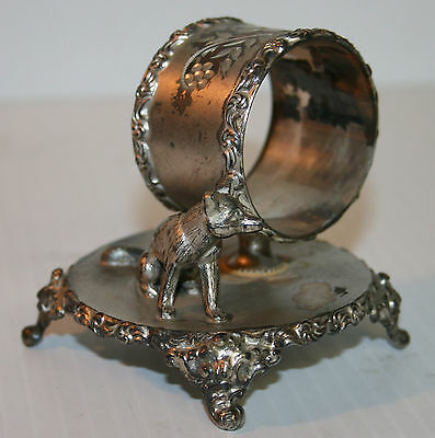 Victorian Silver Plated Napkin Ring Small Seated Fox Homan Silver Plate Co #137