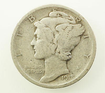 1918 D Mercury Dime - Good