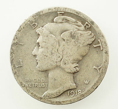 1918 S Mercury Dime - Good