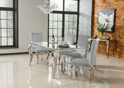 White French Dining Table Kitchen Glass Furniture Shabby Chic Rectangular Style