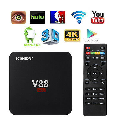 HOT 4K V88 Quad Core Smart 3D Android 5.1 TV Box Fully Loaded Free Movies AH274