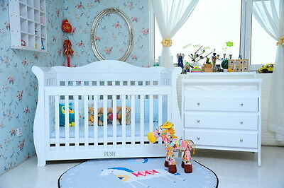 3 in 1 Royal Sleigh Cot with Drawer and Change Table Package - White