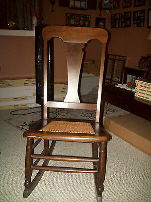 """Antique Rocking Chair Cane Seat Early 1900s 36""""H 16""""W"""