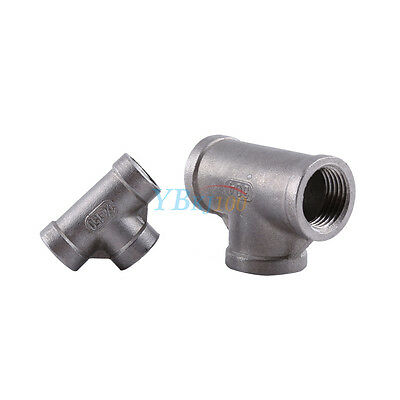 "1/2"" 1/4"" Tee 3 way 304 Stainless Female Threaded Pipe Fitting Joint NPT 150 PSI"