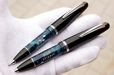 NETTUNO 1911 Skipper Pencil Pen+Ballpoint BLUE MARBLE CELLULOID/SILVER 925 -NEW